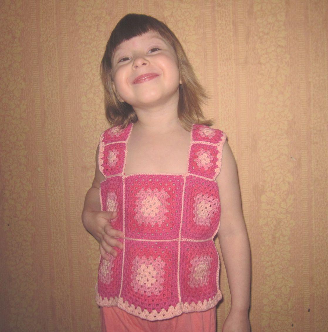 майка крючком для девочки 3-5 лет